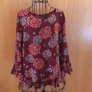 Maroon blouse with bell sleeves and flowers